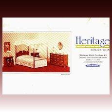 SCARCE 1970's Miniature Doll House Bedroom Kit UNUSED - Heritage Collection / Vintage / Wood