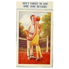 Collector's 1920's 'Tennis Comic' Bamforth Postcard 'Humor' - Couple Kissing on Tennis Court Illustration