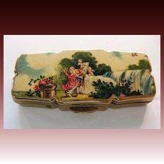 Vintage Stratton Goldtone Pill Box 'Signed'  Made in England - Romance Scene, Cherub, Cupids, Couple Kissing