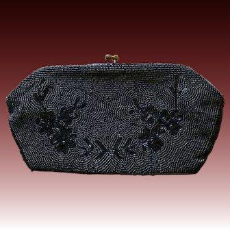 DESIGNER 1940's Jorelle Evening Bag, Authentic - Gunmetal Hand Beaded in Belgium, Clutch RARE