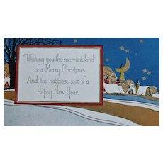 1920's Merry Christmas & New Year Postcard, Unused Vintage - Embossed, Gold Decoration, Ephemera, Holiday