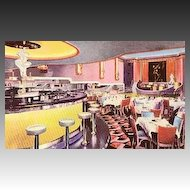 "1930's Art Deco Advertising Postcard  ""Chez Ami "" Restaurant - Theatre, Bar, Entertainment, Unused, Rare, Vintage"