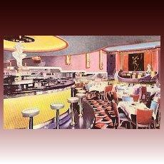 "1930's Art Deco Advertising Postcard  ""Chez Ami "" Restaurant - Theatre, Bar, Entertainment, Unused, Rare, Vintage"