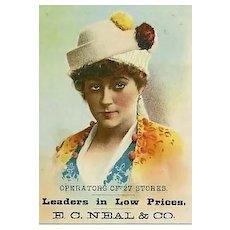 Antique 1800's Victorian Advertising Trade Card  Lithograph, E.C. Neal & Co