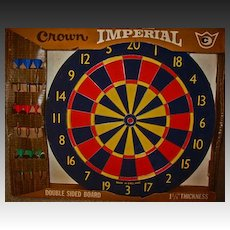 """RARE 17"""" English Professional Dart Board, Unused, 1970's - Double-sided, Crown Imperial, Made In England, Vintage"""