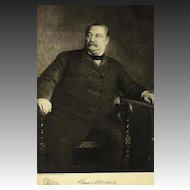 1907 Antique 'Grover Cleveland' Presidential Portrait, Fine Art, Gravure Print, Antique Art, History