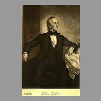 1907 Antique 'John Tyler' Presidential Portrait, Fine Art, Antique Art, Gravure Print, Military, Books, History