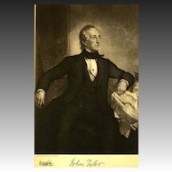 1907 Antique 'John Tyler' Presidential Portrait, Fine Art, Antique Art, Gravure Print, History