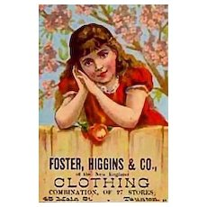 Antique 1800's Victorian Trade Card Foster, Higgins & Co. - Lithograph, Advertising, Ephemera