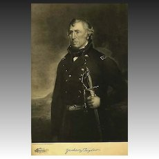 1907 Antique 'Zachary Taylor' Presidential Portrait, Fine Art, Antique Art, Gravure Print, History