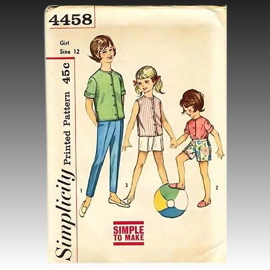 1950 39 s simplicity 4458 girls 39 shirt pant size 12 for Entire book on shirt