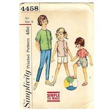 1950's Simplicity #4458 Girls' Shirt & Pant, Size 12, UNCUT, Retro, Vintage Printed Pattern, Children