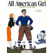 1932 'All American Girl' Sheet Music, RARE College Football Song, Al Lewis, 'All American' Movie, Richard Arlen, Gloria Stuart