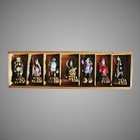 RARE 'Seven Gods Of Good Fortune', Mid Century Japanese Celluloid Figurines, Original Box, Mythology, Okinawa, Japan, Mythical Characters, Buddhism, Shintoist Gods, Japanese Religion