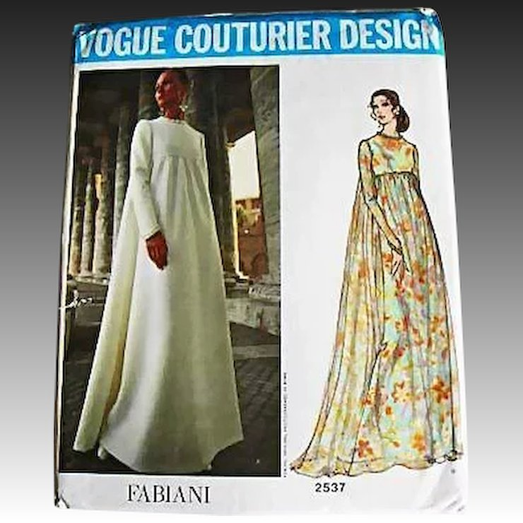 1970\'s FABIANI Vogue Couturier Design Pattern 2537, Misses\' Empire ...