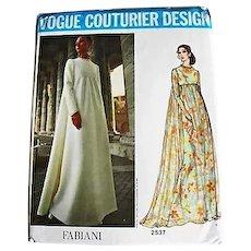 1970's FABIANI Vogue Couturier Design Pattern 2537, Misses' Empire Waist Evening Gown-Two Styles, Size 12, Bust 34, Uncut, RARE Vogue Couturier Label, Fashion