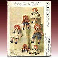 1963 McCalls Raggedy Ann & Andy Doll Pattern - 6491 / Uncut / Vintage / Scarce
