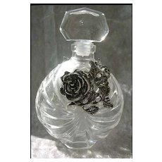 RARE 1960's French Crystal Perfume Bottle w/ Pewter - Cristal / VCA Glass-works / Made in France / Vintage