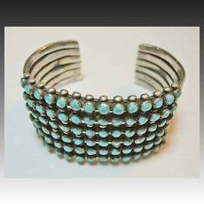 1940's Zuni Sterling Silver, Turquoise Cuff Bracelet, Vintage, Southwestern, Native American