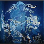 """EXQUISITE Original Cyanotype 'Nymph' by Judith Jaffe, Signed, Original Art, Female Nude, Botanical, Floral, Nature, """"Eve and her Sisters"""" Series, One-of-a-Kind"""