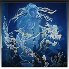 "EXQUISITE Original Cyanotype 'Nymph' by Judith Jaffe, Signed, Original Art, Female Nude, Botanical, Floral, Nature, ""Eve and her Sisters"" Series, One-of-a-Kind"