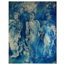 """STUNNING Original Painting 'Shadows' by Judith Jaffe, Signed, Original Art, """"Eve and her Sisters"""" Series, Female Nudes, Gelli Painting, Prussian Blue, One-of-a-Kind"""