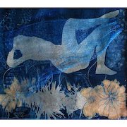 """EXQUISITE Original Cyanotype 'Awakening' by Judith Jaffe, Signed, Original Art, Female Nude, Botanical, Floral, Nature, """"Eve and her Sisters"""" Series, One-of-a-Kind"""