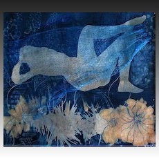 "EXQUISITE Original Cyanotype 'Awakening' by Judith Jaffe, Signed, Original Art, Female Nude, Botanical, Floral, Nature, ""Eve and her Sisters"" Series, One-of-a-Kind"