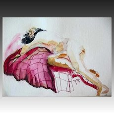 STUNNING Nude Original Watercolor Painting by Judith Jaffe, Signed, Female Nude, Original Art, One-of-a-Kind