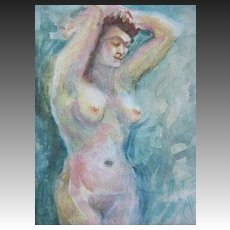 Stunning Nude Original Watercolor Painting, Signed - Artist Judith Jaffe, Nude Woman