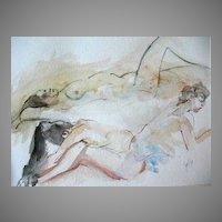 Stunning Original Watercolor Painting, Signed, Three Nude Women - Artist Judith Jaffe