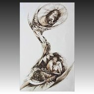 EXQUISITE Original Drawing 'Family' by Judith Jaffe, Signed, Nude, Original Art, Nature, Baby, Birth, Botanical, Flowers