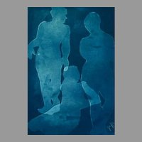 "EXQUISITE Cyanotype 'Silhouette' by Judith Jaffe, Signed, Female Nudes, ""Eve and her Sisters"" Series, Original Art, Figures, One-of-a-Kind"