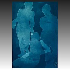 "EXQUISITE original Cyanotype 'Silhouette' by Judith Jaffe, Signed, Female Nudes, ""Eve and her Sisters"" Series, Original Art, Figures, One-of-a-Kind"