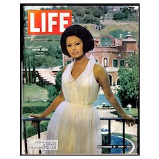 Vintage Life Magazine with Sophia Loren in Villa  -  Sept 1964