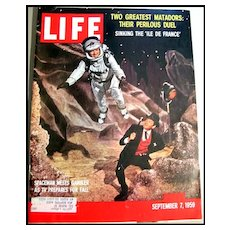 Vintage Sept 7, 1959 LIFE Magazine NASA -Gene Barry / Bill Lundigan /  Bernstein