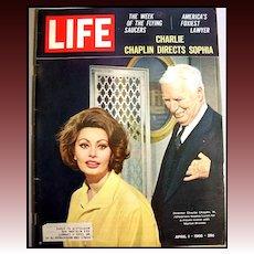 Vintage Life Magazine - Charlie Chaplin & Sophia Loren -  April 1, 1966