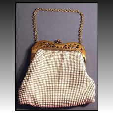 Breathtaking Vintage Boxed Whiting & Davis Purse with Art Deco Frame -  Mint Condition