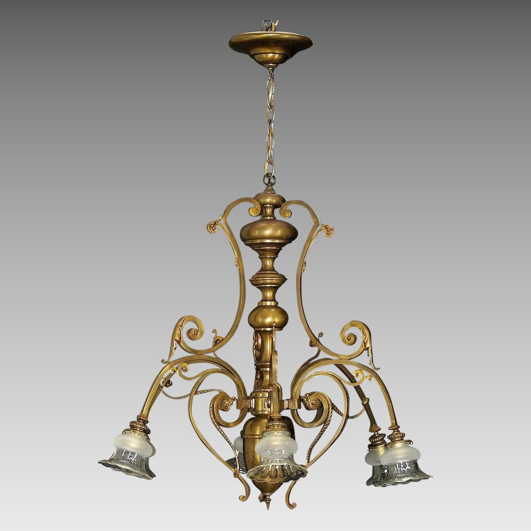Antique French Large Bronze 6 Light Chandelier