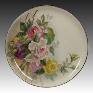 Antique Charger - Hand Painted Roses - Soft Paste Porcelain
