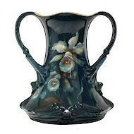 Royal Bonn Double Handle Vase Antique Hand Painted Flowers