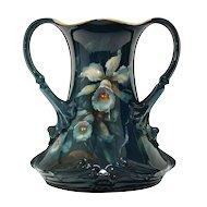 Royal Bonn Double Handle Vase Antique Hand Painted Flowers