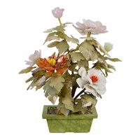Vintage Carved Jade Gemstone Peony Plant