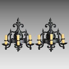 Pair Vintage Iron Fleur-de-Lis Sconces - 3 Lights