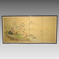 Vintage Japanese Table Screen - Signed - 4 Panel