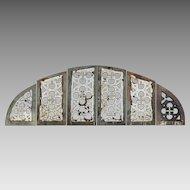 Antique Quatrefoil Arch Church Window Frame - Architectural Cast Iron - 72 inches wide