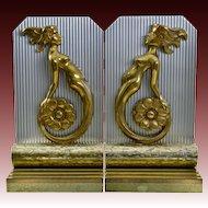 Pair Art Deco Mermaid Bookends - Machine Age - Aluminum and Bronze