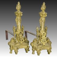 Pair Vintage French Bronze Chenets - Harp - Torch