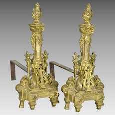 Pair Vintage French Bronze Chenets - Harp - Torch, Andirons