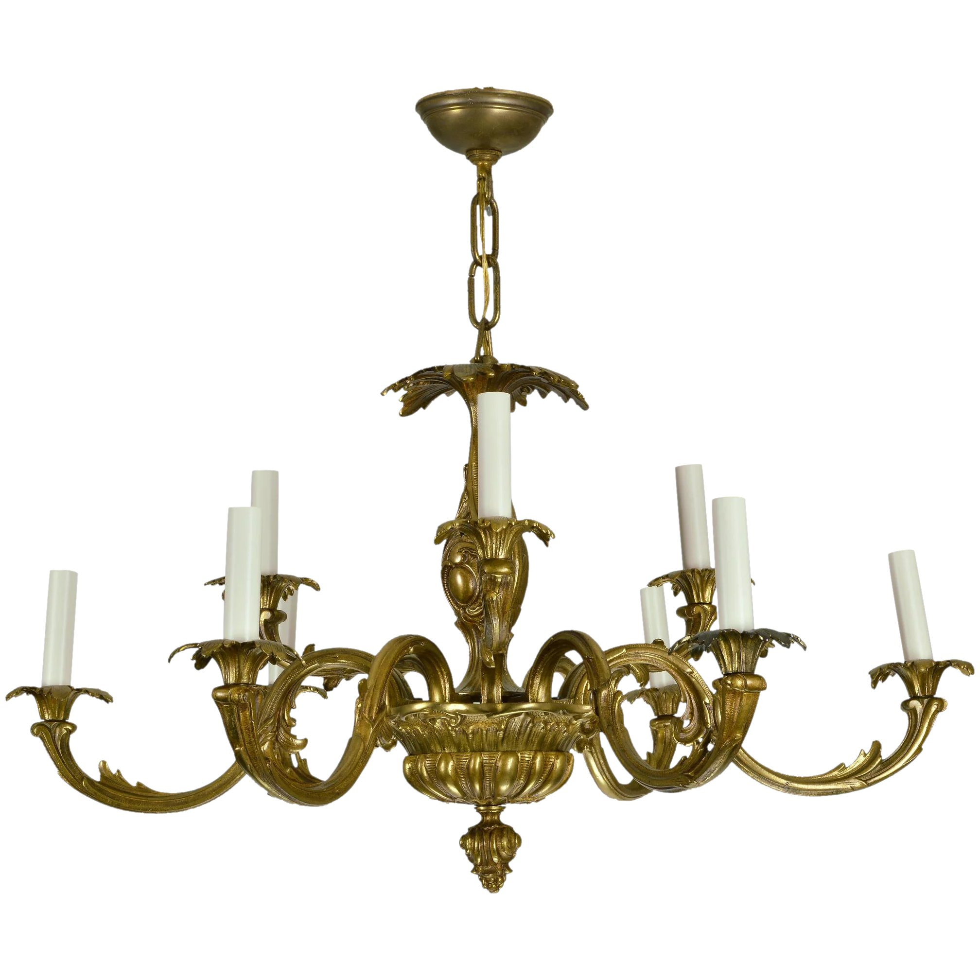 Vintage brass french baroque chandelier sold ruby lane vintage brass french baroque chandelier click to expand aloadofball Image collections